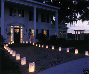 Our UK paper candle bag lanterns look stunning along the sides of paths